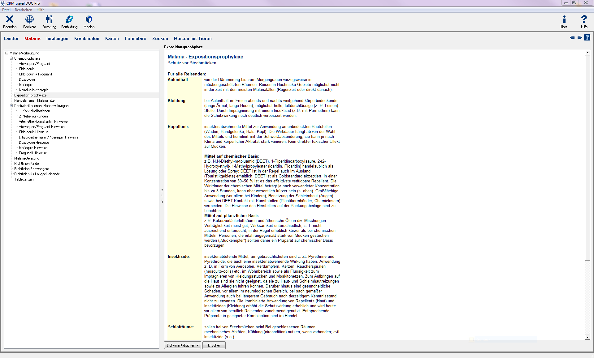 IXOS Malaria Expositionsprophylaxe Screenshot